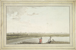 S.W. view of Jambakistna and Srirangam. Captain Trapaud, a friend and his dog are sitting on the river bank